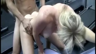 turned on blonde sidney masturbates her round butt on a big ballss gym trainer to massage in spite of him