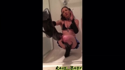 Smoking pvc boot fetish: Sexy brat domina smokes and stomps in the shower