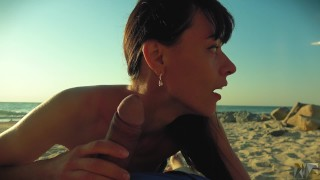 Risky public blowjob on the beach.Travel diaries pt1 porno