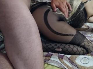 Anal sex with a hot blonde cumshot on ass