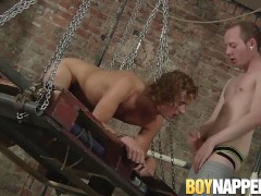 Kinky gay removes bound twink buttplug and fucks him roughly