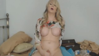 Blonde TS Jenna destroys stud Gabriels butthole from behind