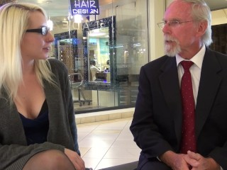 Surprise Butt Sex Broke Blonde Tag Teamed By Old Dudes At The Mall, Big Ass
