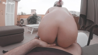 On big cumshot tits cowgirl the rooftop reverse amazing on my ride and pov cock