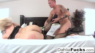Gonzo sex on a big bed with Dahlia Sky and Richie Black Kinky spanked