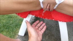 Hot Milf piss pee outside in her Dress and on my hands pov