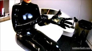 Rubberdoll in full black latex enclosure gets sprayed her mouth with cum...  latex rubber fetish latex doll rubber catsuit cumshot rubber and latex fetish kink rubber rough latex latex fetish rubber doll cum in mouth latex sex latex bondage latex catsuit