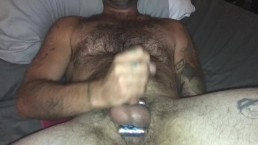 Hot guy jacks off and cums on himself, X2, after wife stretched his asshole