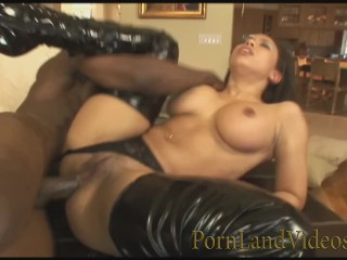 young girl in black latex with destroyed anal hole