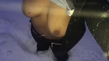 Public masturbation in the snow