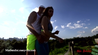 Pussy fuck panties public cumming on outdoor with bandini and my mia blowjob sneakers