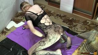 Bodystocking in roses, riding on huge bbc Masturbation piercing