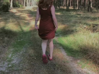 Playful Redhead Pissing in Forest and Showing her Big Boobs