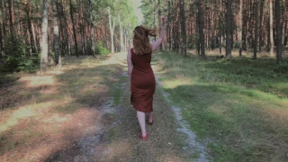 Playful Redhead Pissing in Forest and Showing her Big Boobs Rough european
