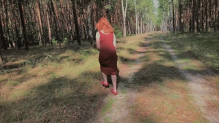 Playful Redhead Pissing in Forest and Showing her Big Boobs Prostitute style