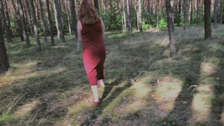 Playful Redhead Pissing in Forest and Showing her Big Boobs Burning glass
