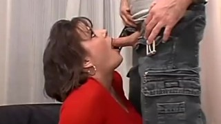 Short haired busty brunette milf has her pussy pounded in bed Brunette milf