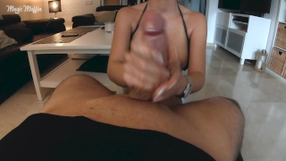 Cum explosion from edging handjob with long french nails French cumshot