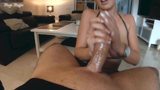 Cum explosion from edging handjob with long french nails Stockings femdom