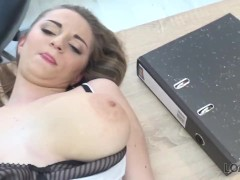 LOAN4K. Buxom babe gets fucked on table of loan manager for cash