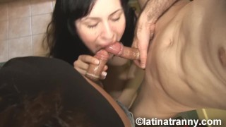 T-girl Felicitas sucking Nikki Montero and Pablo cock and hardcore fuck