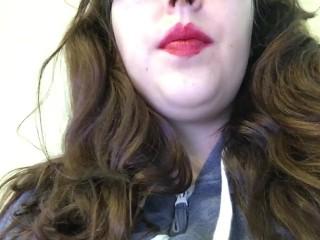 hot chubby brunette teen smoking cork tip cigarette in bright red lipstick
