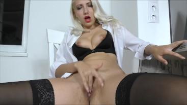 Sexy secretary masturbation Big tits Pussy close-up