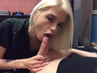 Preview 6 of Homemade deepthroat sloppy blowjob from a cute blonde, oral creampie