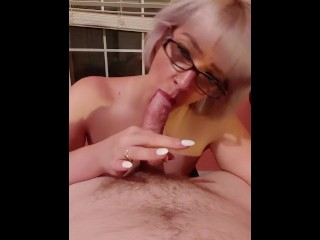 Amateur blonde with glasses blowjob & facial