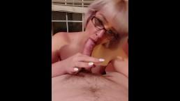Amateur blonde with glasses blowjob & facial