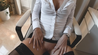 After work blowjob turns into hot pov fuck on the table Babe brunette