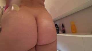 Young girl with a juicy ass fuck after a shower Creampie creampie