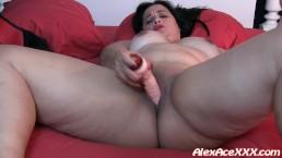 Bbw Gina Leah fucks her pussy with a big dildo