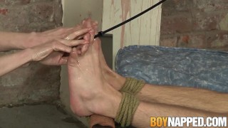 Rough and restrained play dick to sub feet lover for unlucky boynapped handjob