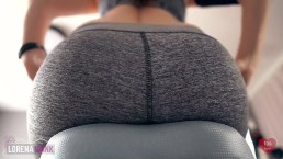 Sexercise, Orgasm On Exercise Bike In Yoga Pants – Ass View + Heart Rate