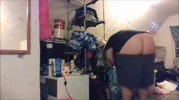 buttcrack doing chores - big shorts keep falling down