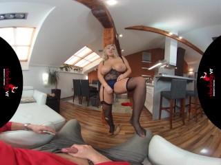 StockingsVR – Man Hungry big boobs big ass blonde milf striptease