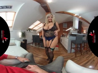 StockingsVR – Man Hungry big boobs big ass blonde milf striptease