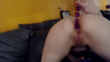 Anal Beads Orgasm - Petite Athena Asher Fills Her Tight Asshole & CUMS HARD