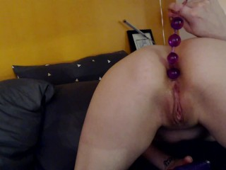 Anal Beads Orgasm Petite Athena Asher Fills Her Tight Asshole CUMS HARD