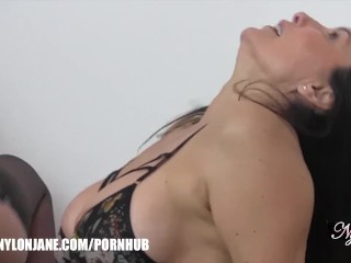 Fetish lesbians rubbing popping balloons on each other in nylons lingerie