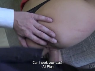 LOAN4K. Rich miss gets on her knees and blows dick of bank manager