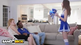 BANGBROS - Cheerleader Riley Reid Rides Her Mom's BF's Big Black Cock