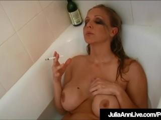 Hot Busty Milf Julia Ann Smokes Cigs Nude In Bathtub!