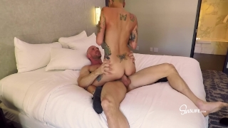 Picked Up and Fucked Hot Fan w/ Huge Tits and a Shaved Head in Hotel Room! Daughter redhead
