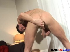Ripped euro stud tugging on huge dong