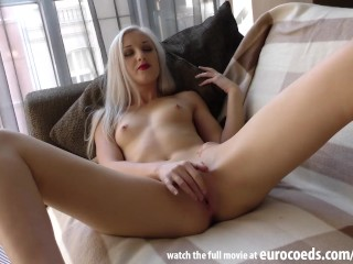 platinum blonde spinner young samanta first ever porn casting tiniest pussy