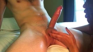 For and balls gives cumshot handjob busty huge slaps asian of massage