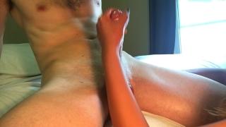 Busty Asian gives handjob and slaps balls for huge cumshot Blowjob young