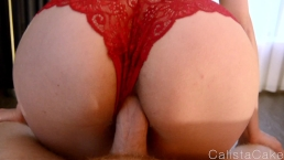 Dirty Blonde Girl Creampied! Reverse Cowgirl POV In Red Panties
